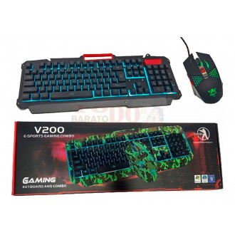 Combo Gamer Teclado V200 Cable Usb +...
